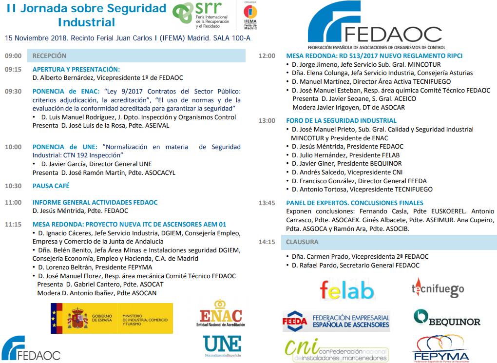 II Jornada Seguridad Industrial de FEDAOC