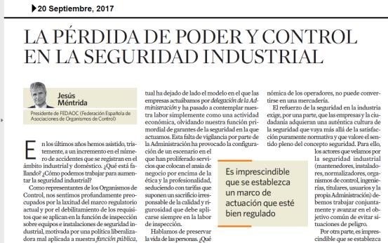 La pérdida de poder y control de las Administraciones en la seguridad industrial